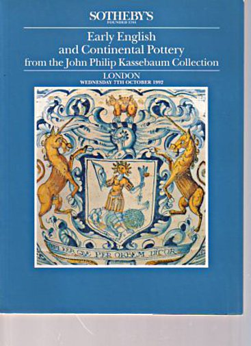 Sothebys 1992 Kassebaum Collection English & Continental Pottery - Click Image to Close