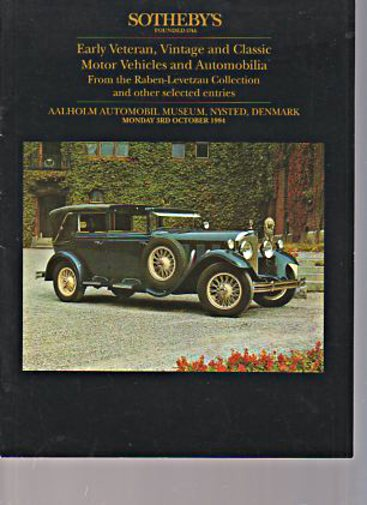 Sothebys 1994 Levetzau Collection Veteran, Vintage, Classic Cars