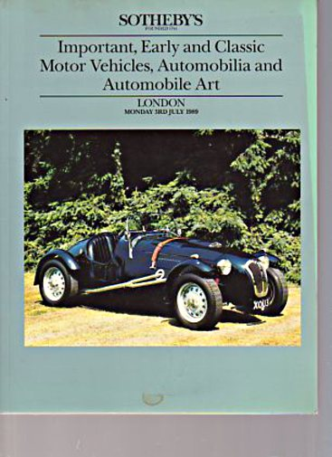 Sothebys July 1989 Early & Classic Cars, Automobilia