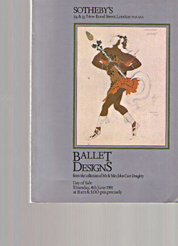 Sothebys 1981 Ballet Designs - collection of Mr & Mrs JC Doughty