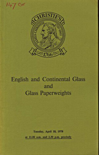 Christies 1978 English & Continental Glass & Glass Paperweight