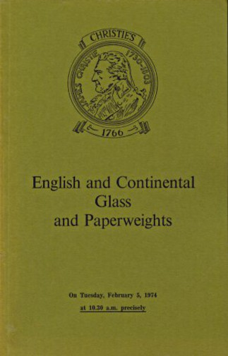 Christies 1974 English and Continental Glass and Paperweights