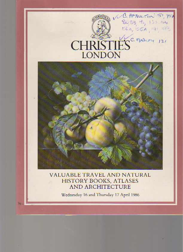 Christies 1986 Valuable Travel & Natural History Books & Atlases