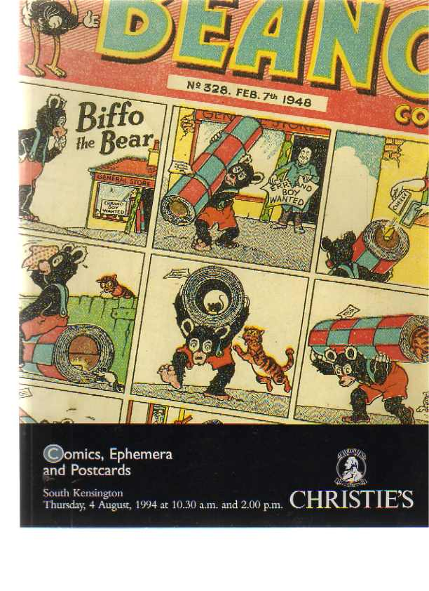 Christies 1994 Comics, Ephemera & Postcards