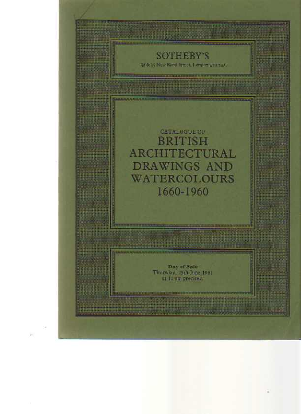 Sothebys 1981 British Architectural Drawings & Watercolours