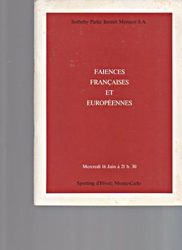 Sothebys 1982 French & European Faience