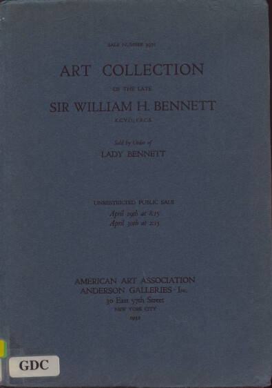 AAA 1932 Art Collection & Furniture of Sir William H Bennett