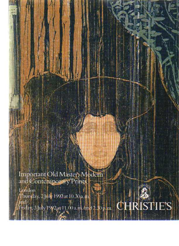 Christies 1992 Important Old Master, Modern, Contemporary Prints