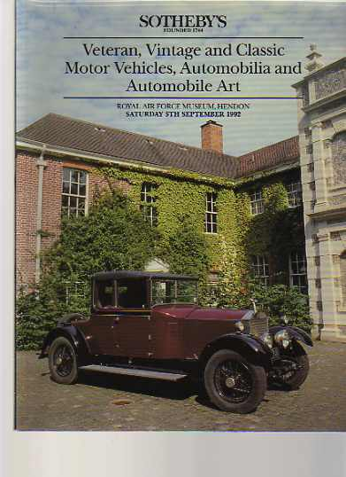 Sothebys September 1992 Veteran, Vintage & Classic Cars