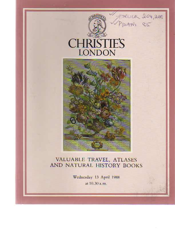 Christies 1988 Valuable Travel, Atlases & Natural History Books