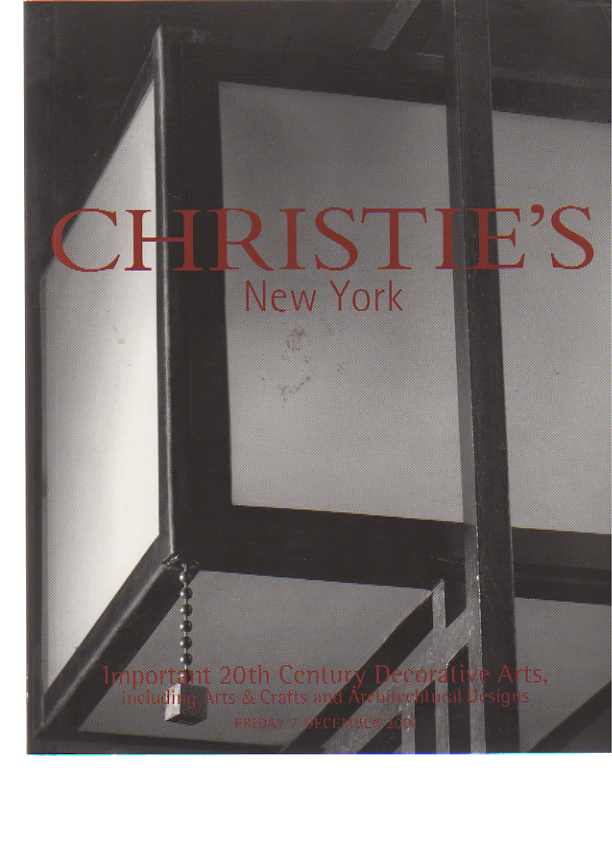 Christies 2001 Important 20th C Decorative Arts, Arts & Crafts