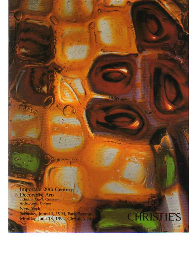 Christies 1994 Important 20th C Decorative Arts, Arts & Crafts