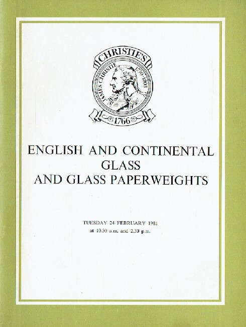 Christies 1981 English & Continental Glass, Paperweights