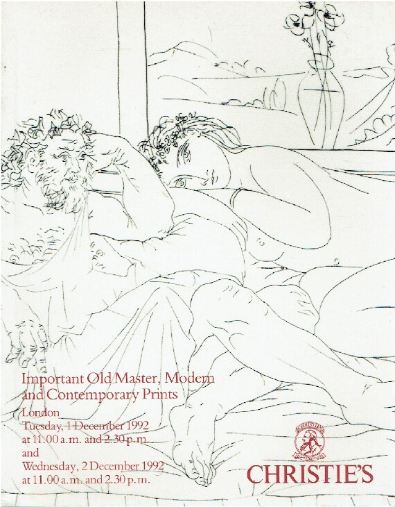 Christies December 1992 Important Old Master, Modern & Contemporary Prints