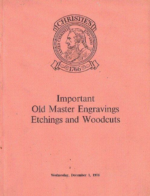 Christies December 1976 Important Old Master Engravings Etchings & Woodcuts